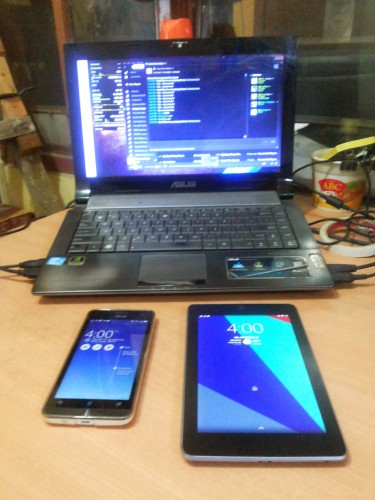 ASUS Army! ASUS N43SM (Top), ASUS Zenfone 5 (Left), ASUS Nexus 7 (Right)